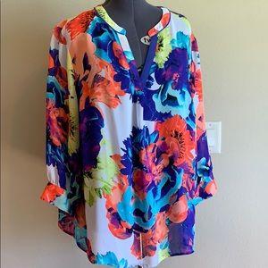 Worthington Woman 3X colorful sheer Tunic